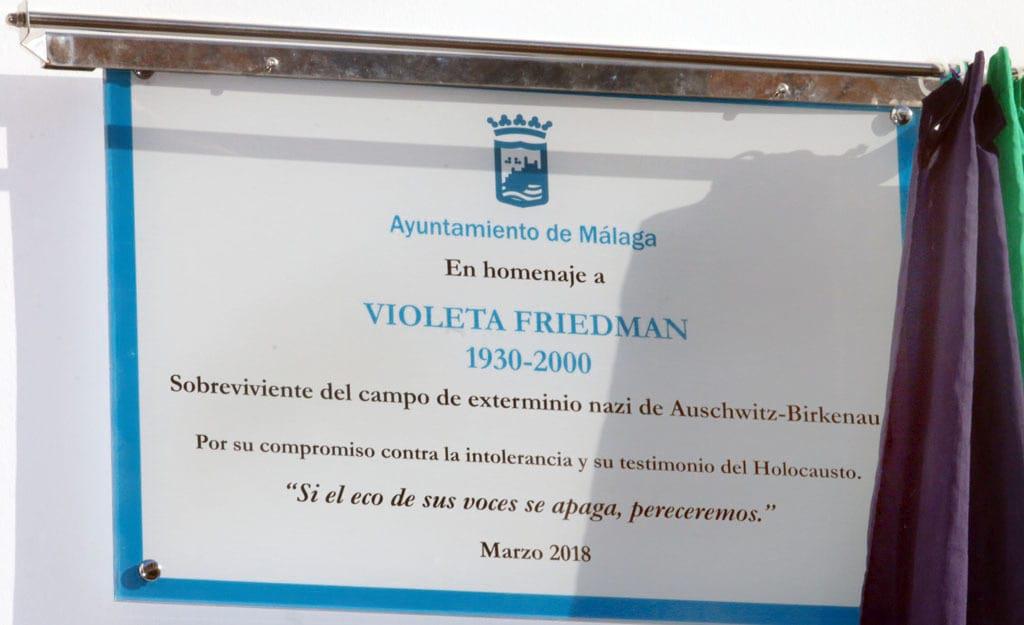 Homenaje en Málaga a Violeta Friedman - Fundación Violeta Friedman